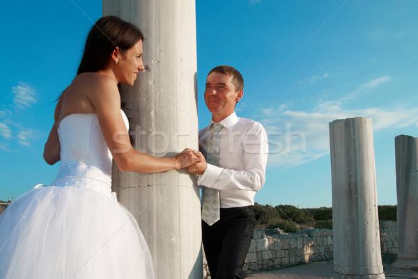 Gyönyörű esküvő pár menyasszony vőlegény Görögország Stock fotó © vapi