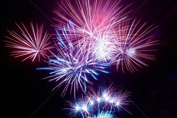Színes tűzijáték fekete égbolt tűz fény Stock fotó © vapi