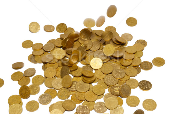 Rain of gold coins isolated on white. Stock photo © vapi