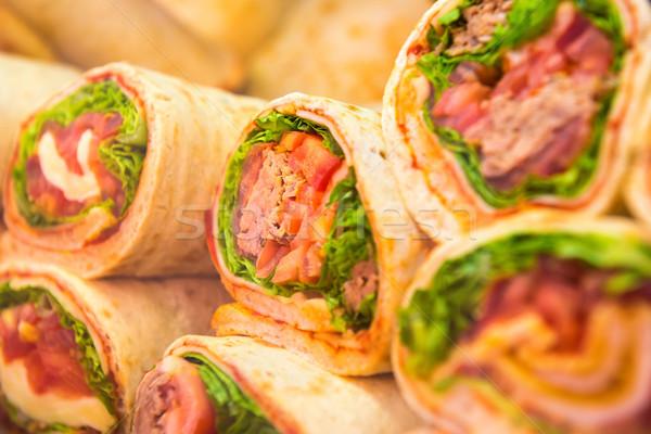 Fresh tortilla wraps with vegetables Stock photo © vapi