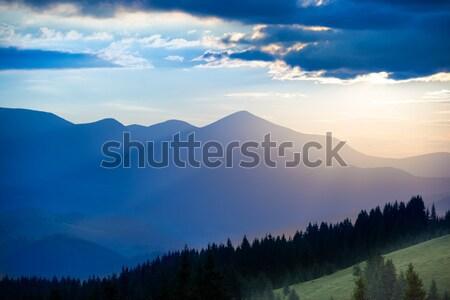 Blue mountains at sunset Stock photo © vapi