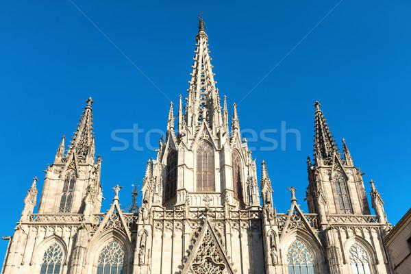 Catedral Barcelona Espanha fachada gótico atravessar Foto stock © vapi