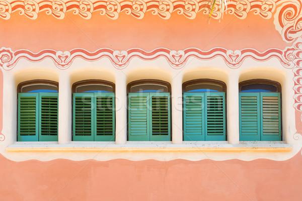 Windows at pink house wall Stock photo © vapi