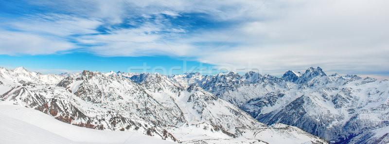 Panorama winter bergen sneeuw landschap blauwe hemel Stockfoto © vapi