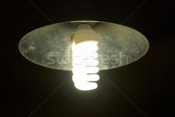 Lampshade with bright energy saving lamp Stock photo © vapi