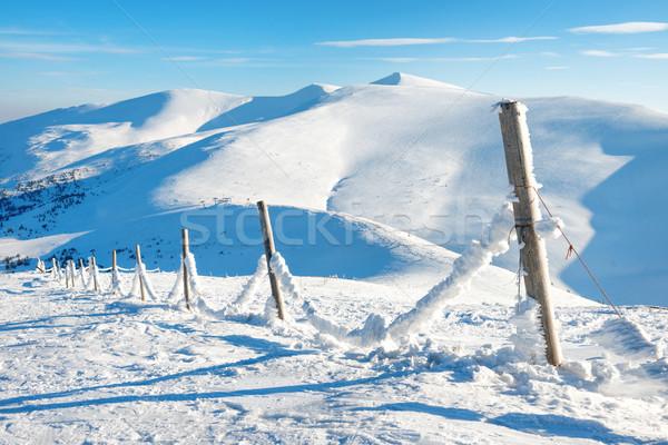 フェンス 雪 冬 高山 村 氷 ストックフォト © vapi