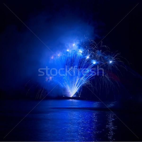 Stock fotó: Színes · tűzijáték · kék · fekete · égbolt · ünnep