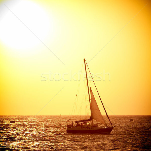 Sail boat against sea sunset Stock photo © vapi