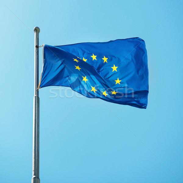 Integet szövetség EU zászló kék ég textúra Stock fotó © vapi