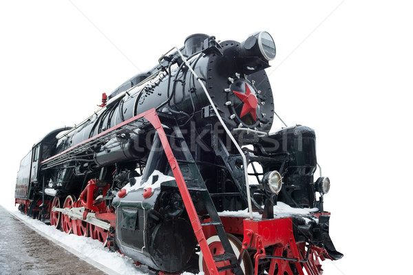 Fekete öreg vonat Szovjetúnió szovjet mozdony Stock fotó © vapi
