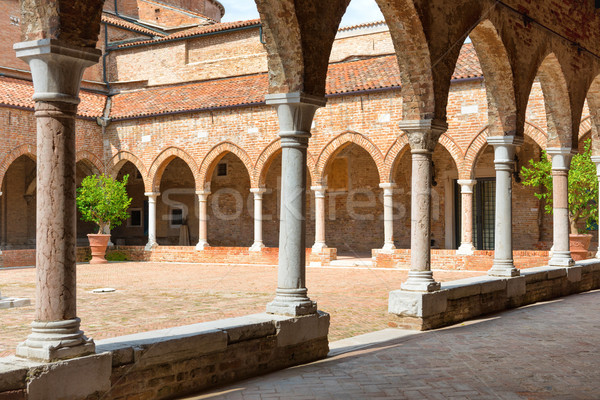 Interior on old brick house with columns Stock photo © vapi