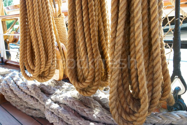 Yacht's ropes and tackles Stock photo © vapi