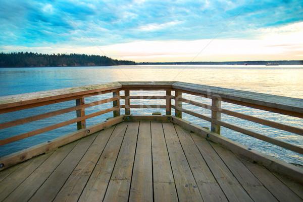 Ponte mar costa pôr do sol nuvens Foto stock © vapi