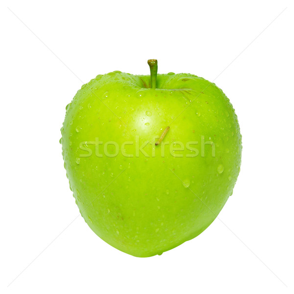 Green apple with caterpillar isolated on white. Stock photo © vapi
