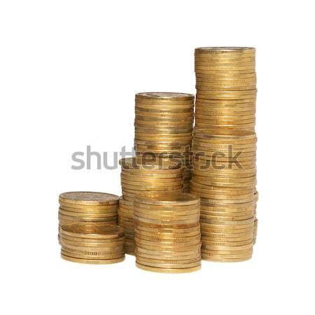Foto d'archivio: Colonna · monete · isolato · bianco · business