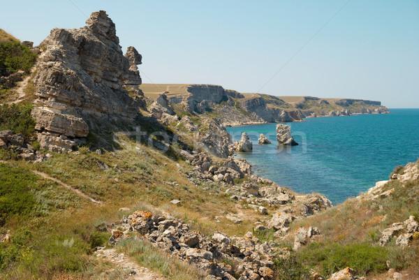 Kustlijn veel groot rotsen strand water Stockfoto © vapi