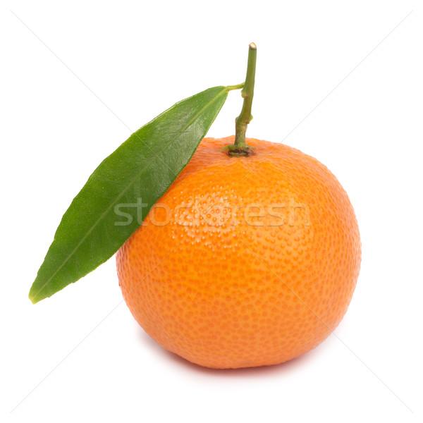 Oranje mandarijn- groen blad geïsoleerd witte voedsel Stockfoto © vapi