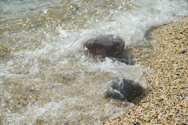 Rocks in the waves and sea foam. Stock photo © vapi