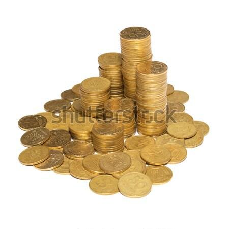 Oszlop arany érmék izolált fehér üzlet Stock fotó © vapi