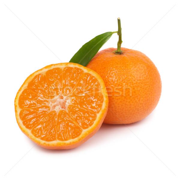 Orange deux feuille verte isolé blanche feuille Photo stock © vapi