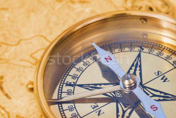 Compass on old map Stock photo © vapi
