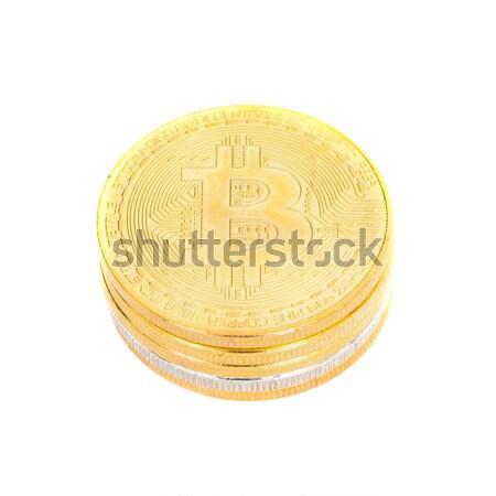 Stack of golden bitcoins Stock photo © vapi
