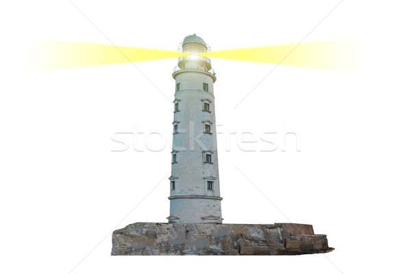 Lighthouse on island with dual searchlight beam Stock photo © vapi