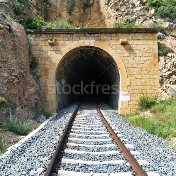 Oude trein tunnel spoorweg berg metaal Stockfoto © vapi