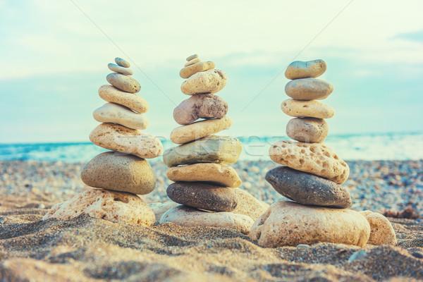 Three stacks of round smooth stones Stock photo © vapi