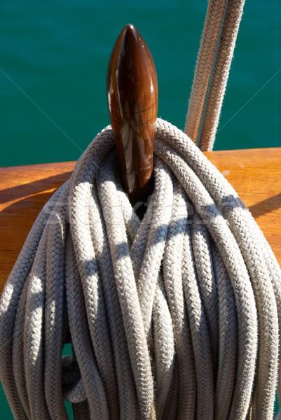 Yacht's ropes and tackles Stock photo © vapi