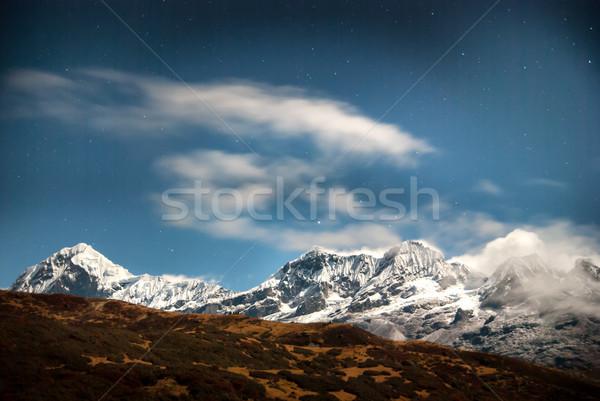 Сток-фото: гор · ночное · небо · звезды · высокий · синий · темно