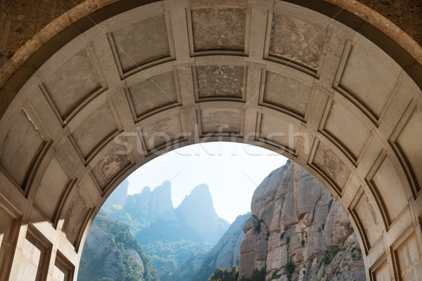 View from the entrance of Montserrat monastery Stock photo © vapi
