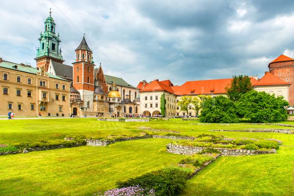 Katedrális Krakkó Lengyelország zöld gyep kastély Stock fotó © vapi