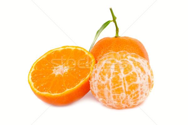 Narancs zöld levél izolált fehér étel levél Stock fotó © vapi
