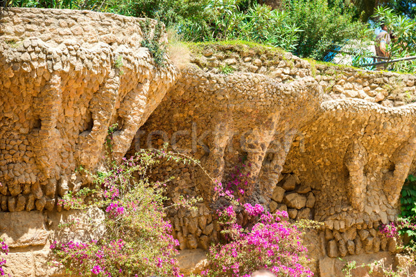 Stone columns in colonnade of Park Guell Stock photo © vapi