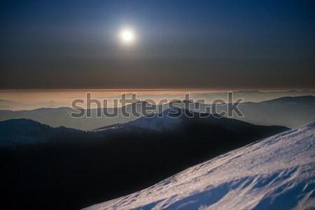 Range of winter mountains at night Stock photo © vapi