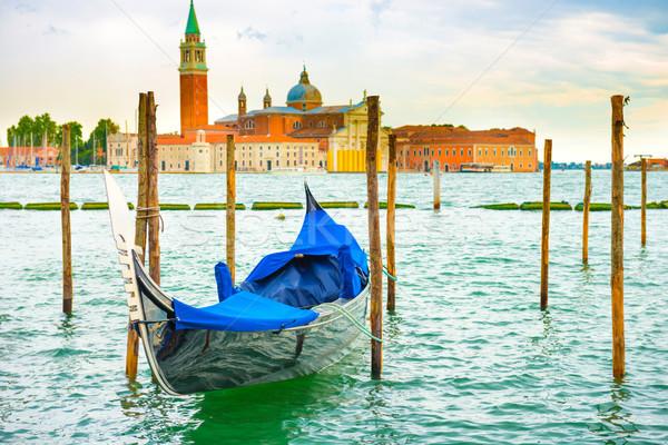 Góndola puesta de sol Venecia Italia cielo agua Foto stock © vapi