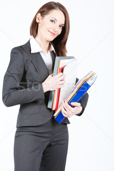 Iş kadını belgeler arama dosya klasörler Stok fotoğraf © varlyte
