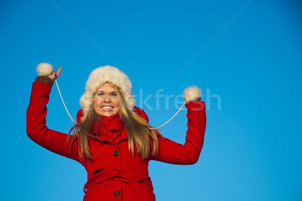 Portre kadın kırmızı kat mavi Stok fotoğraf © varlyte
