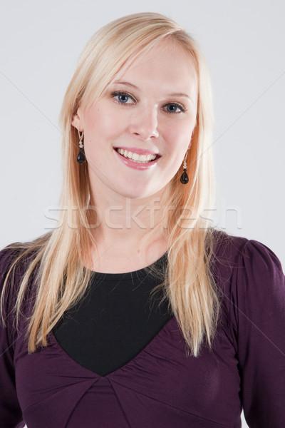 Sarışın gülümseyen portre yüz gözler Stok fotoğraf © varlyte