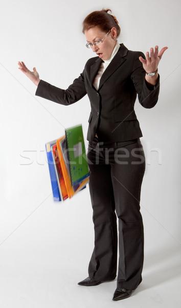 Iş kadını kağıtları klasörler zemin iş ofis Stok fotoğraf © varlyte