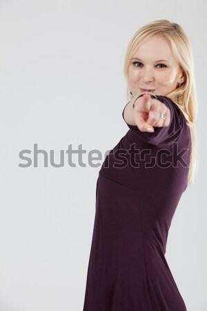 Kadın işaret kamera portre sarışın Stok fotoğraf © varlyte