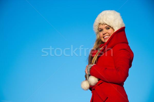 Portre kadın kırmızı kat mavi genç Stok fotoğraf © varlyte