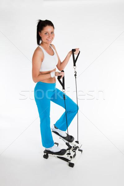 Kadın genç kadın egzersiz dikey Stok fotoğraf © varlyte