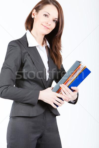 Iş kadını belgeler klasörler çalışmak saç Stok fotoğraf © varlyte