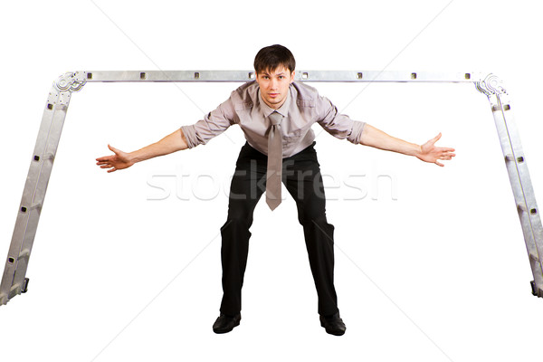 Jóvenes empresario portero aislado guapo escalera Foto stock © varlyte