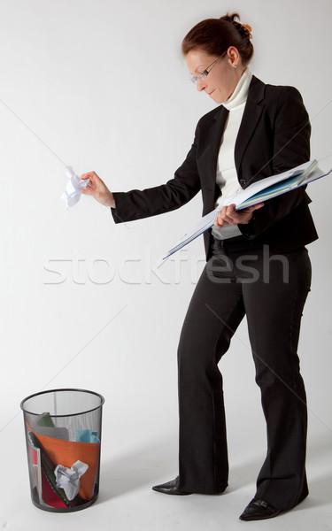 Iş kadını kağıtları çöp iş Stok fotoğraf © varlyte
