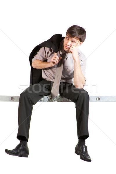 Genç işadamı oturma merdiven yakışıklı ceket Stok fotoğraf © varlyte