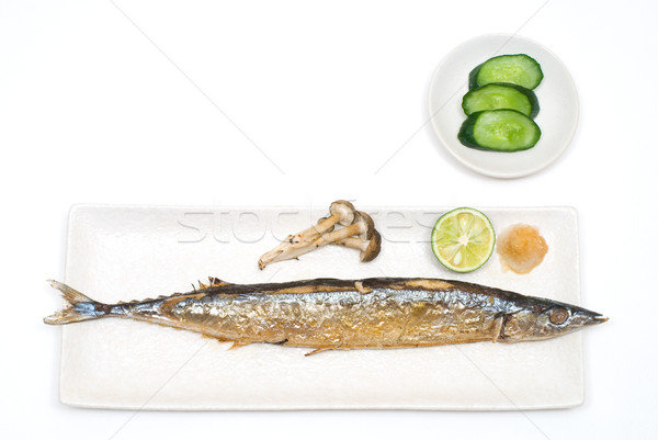Grilled saury Stock photo © varts