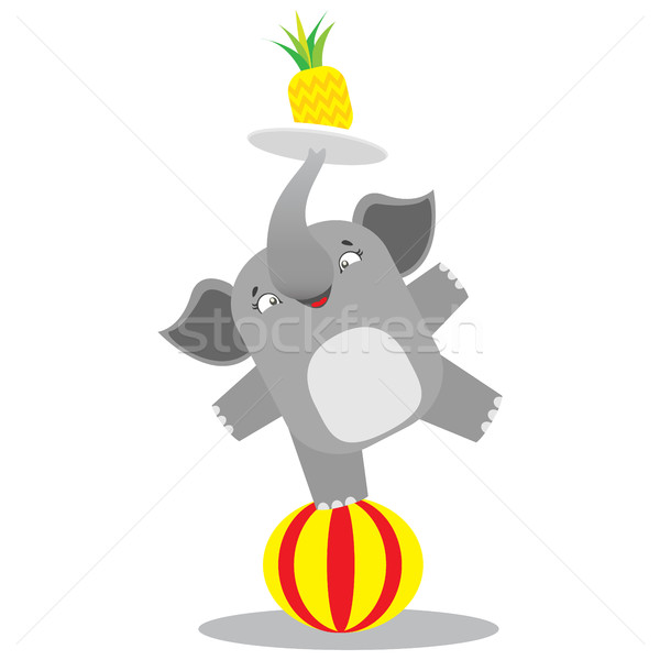 Circus elephant balancing on a striped ball with the pineapple o Stock photo © vasilixa